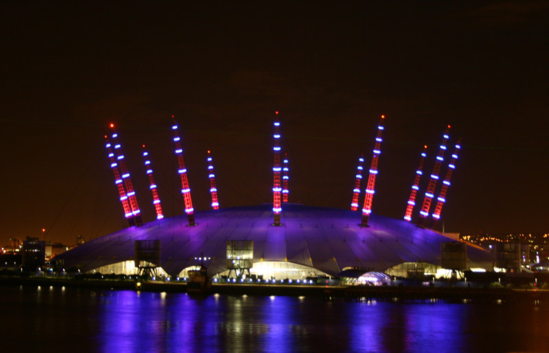The O2 by night